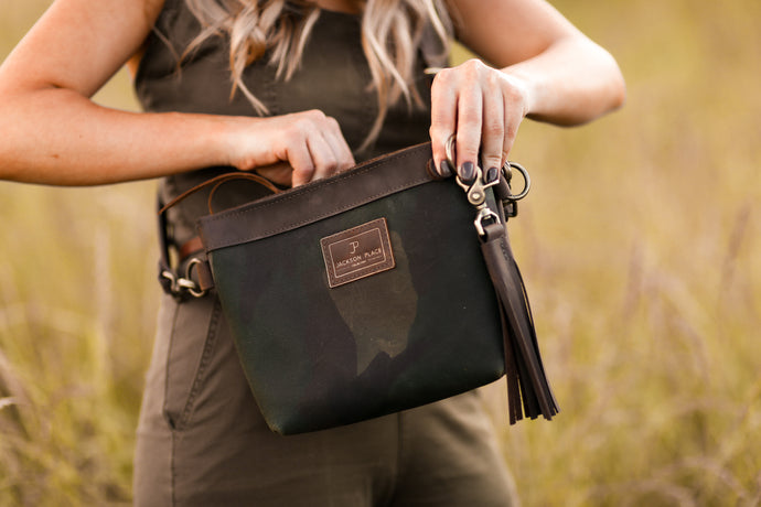 Small Camo Waxed Canvas & Brown Leather Crossbody Bag