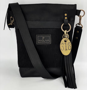 Black Hair-on-Hide Small Leather Bucket Bag