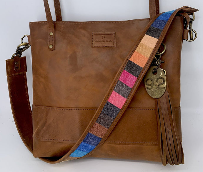 Large Brown Leather Tote Bag with Blue Stripe