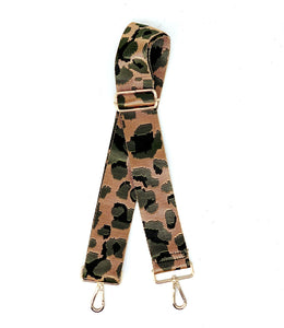 Olive Green Animal Print Adjustable Woven Metallic Bag Strap - Leopard / Cheetah