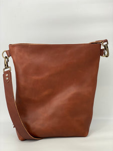 Large Wickett & Craig Leather Cognac Bucket Bag