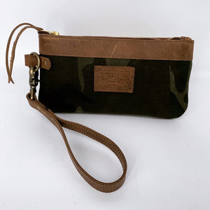 Light Brown Camo Waxed Canvas Leather Wristlet / Clutch Bag
