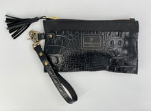 Load image into Gallery viewer, Black Embossed Croc & Kodiak Leather Clutch / Wristlet Bag