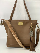 Load image into Gallery viewer, Large Taupe Leather Tote Bag with Brindle