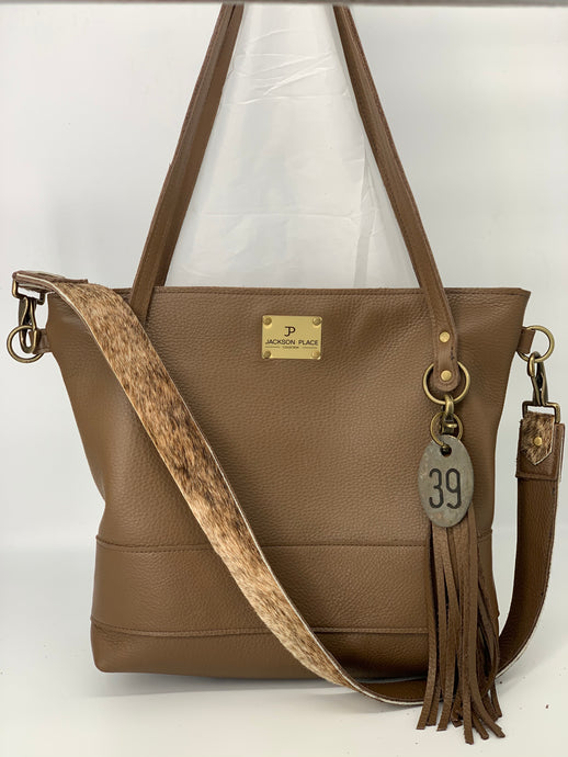 Large Taupe Leather Tote Bag with Brindle
