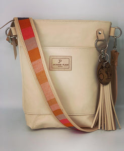 Small Natural Leather Bucket Bag with Red Stripe