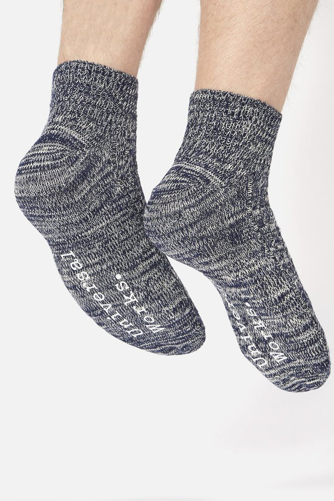 Slub Knit Ankle Sock - Navy