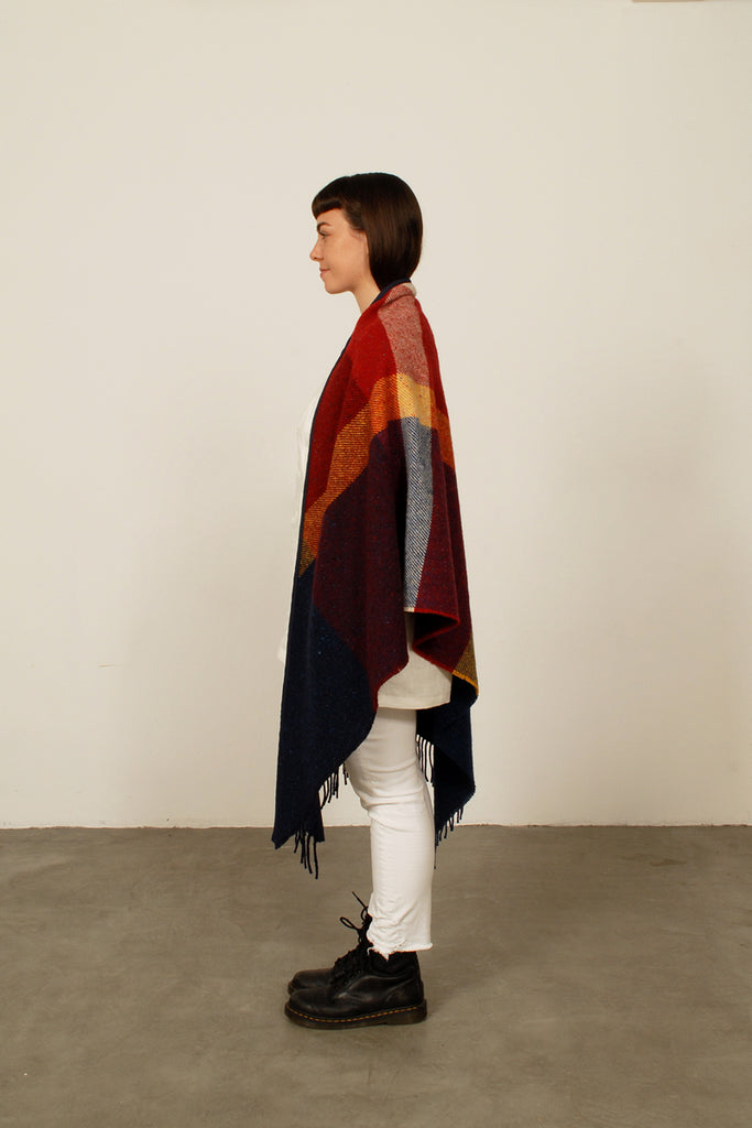 Triangle Shawl - Red/Blue/Yellow