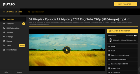 put.io screenshot of viewing window with next episode queued up