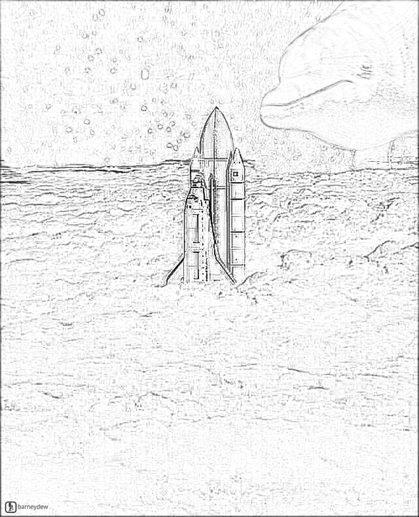 spaceship dolphin coloring page