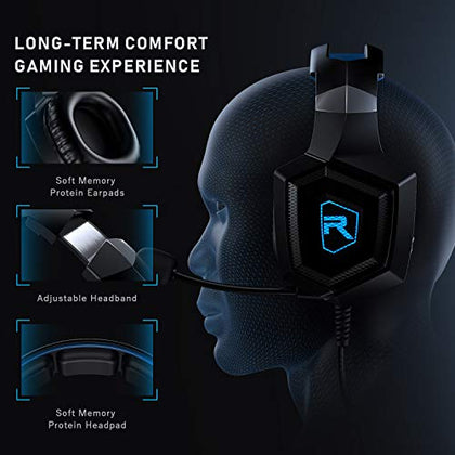 RUNMUS Gaming Headset PS4 Headset with 7.1 Surround Sound, Xbox One