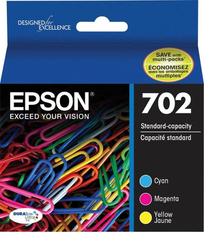 Epson 702 with Sensor Ink Cartridge, Cyan/Magenta/Yellow - 3-pack