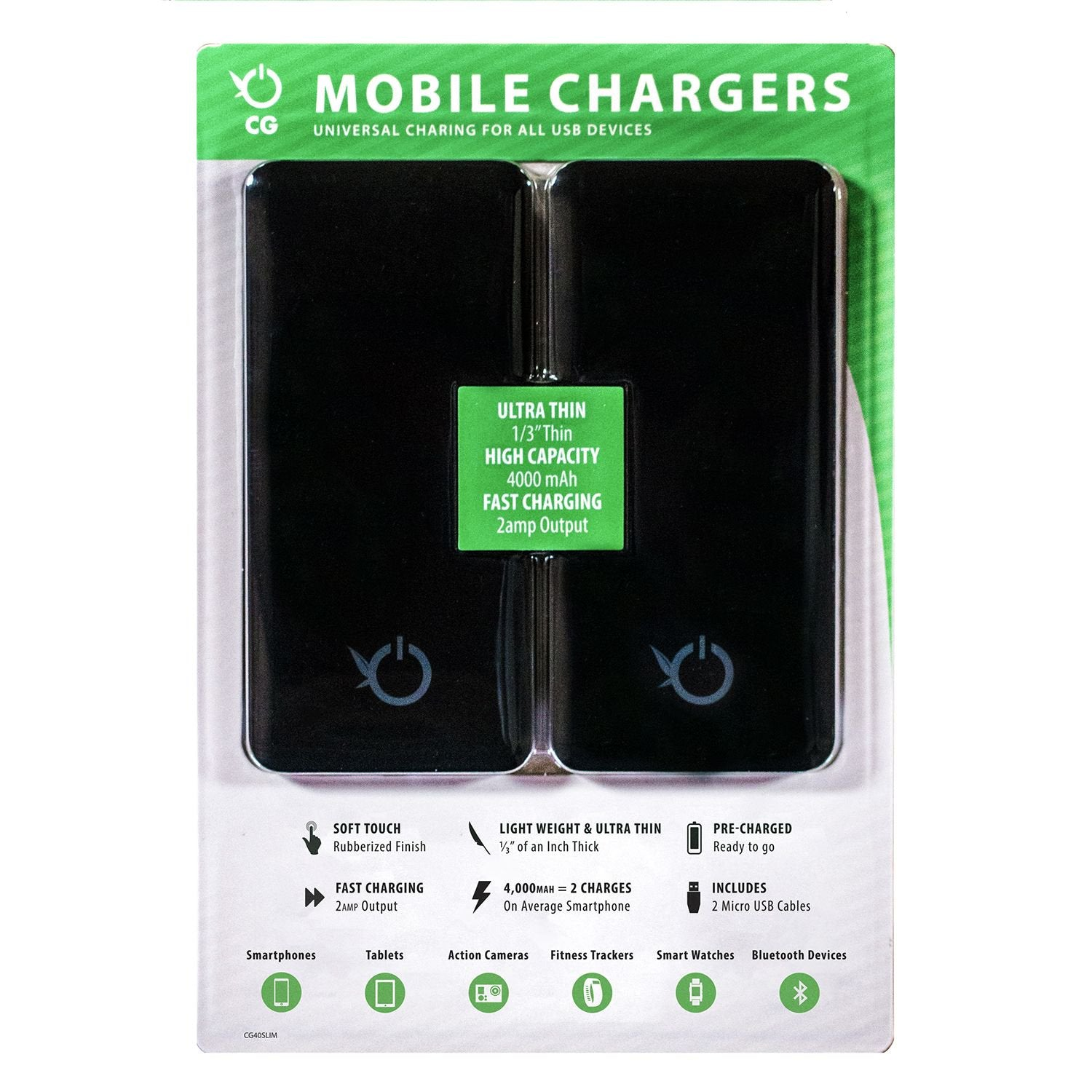 Concept Green Slim 4000mAh Portable Power Bank, 2 Pk.