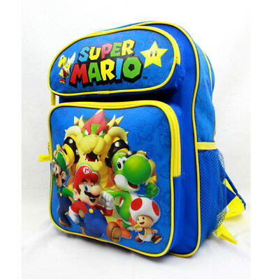 "Medium Backpack - Nintendo - Super Mario Group Blue 14"" School Bag"