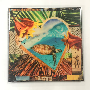 """Honu Love"" 18x18 glassed collage art"