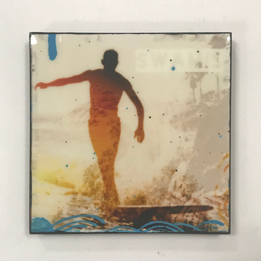 """Swamis"" 6x6 glassed collage art"