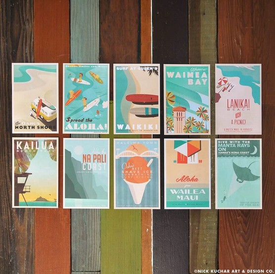 4x6 Retro Hawaii Postcards Set of 10