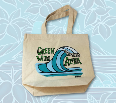 Green with Aloha Wave Tote Bag