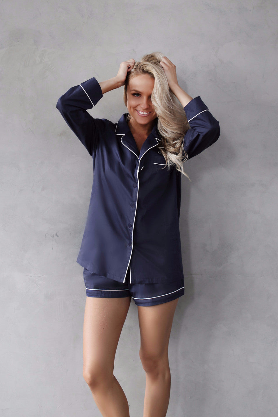 Amour Navy Long Sleeve & Shorts Set