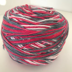 Sock Yarn 85g (red/grey/white)