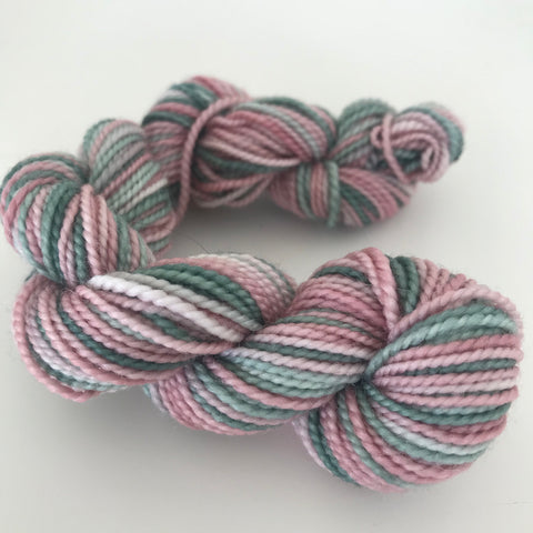Pink/Green Sock Yarn Mini Skein approx 15g