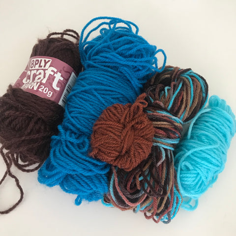 8ply Acrylic Beginner Pack: Aqua/Brown