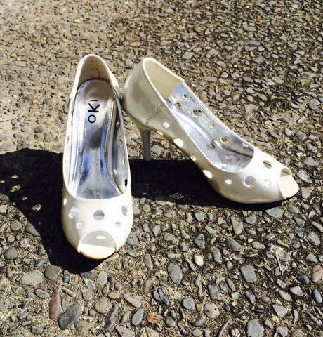 Shiny Cream Heels with Circle Cut Outs size 37