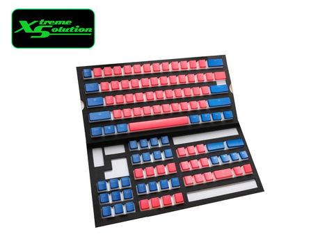 2 Designs - 108 Key PBT Seamless Doubleshot Pudding Keycap Set - Blue/Coral or Coral/Blue