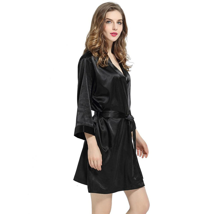 Black Signature Satin Robe