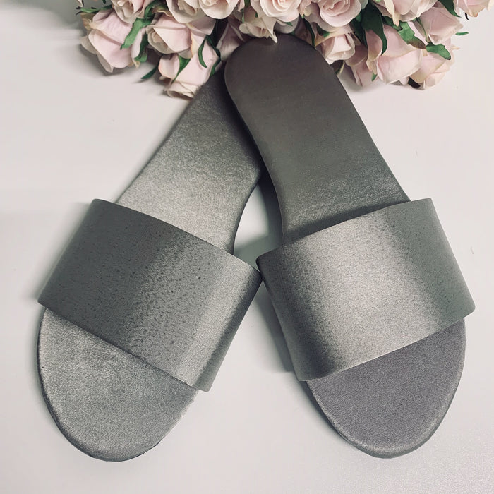 Personalised Satin Slippers - Silver