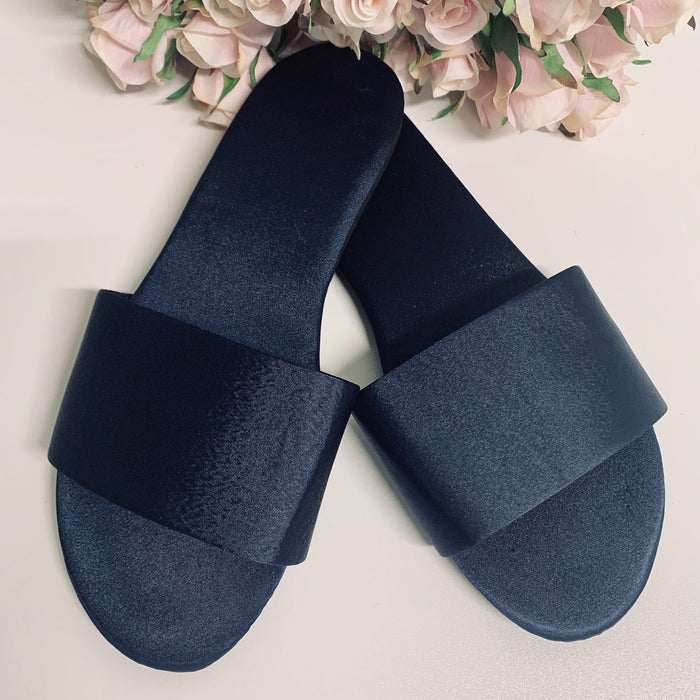 Personalised Satin Slippers - Navy