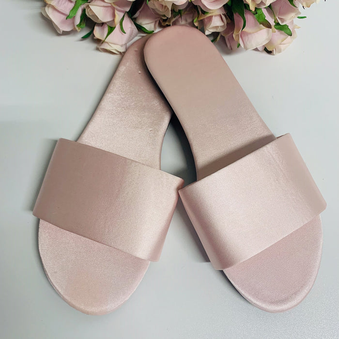 Personalised Satin Slippers - Pink