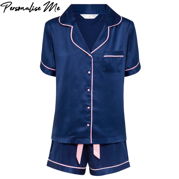 Olivia Short PJ Set in Navy
