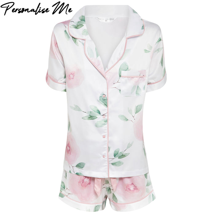 Olivia Short PJ Set in white floral