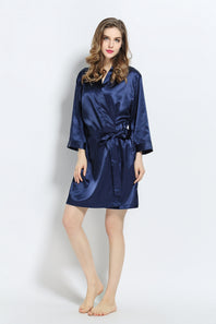 Navy Signature Satin Robe