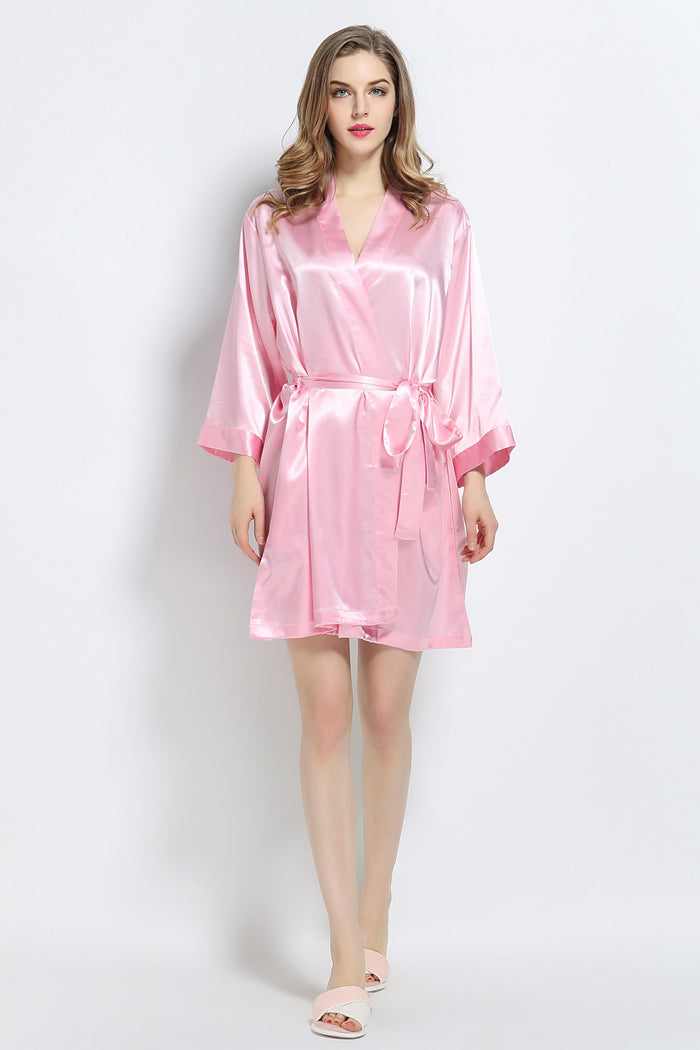 Pink Signature Satin Robe