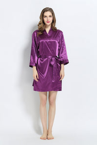 Purple Signature Satin Robe