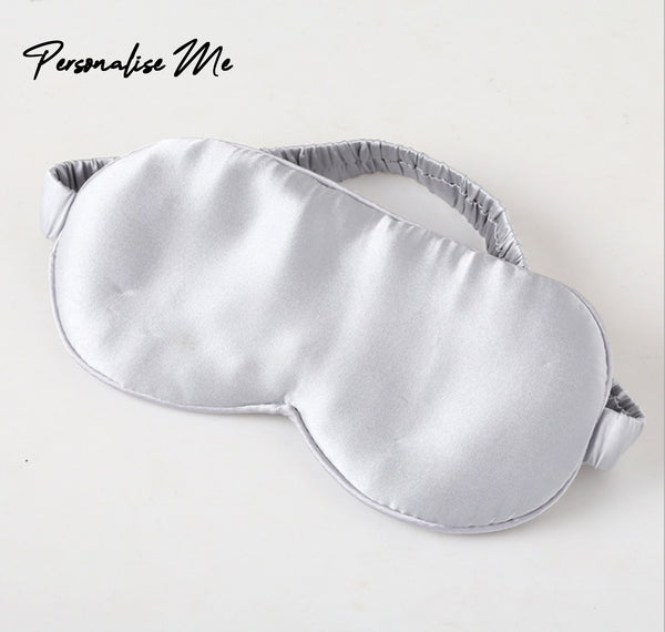 100% Silk Eye Mask in Silver
