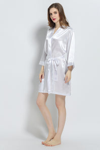 White Signature Satin Robe