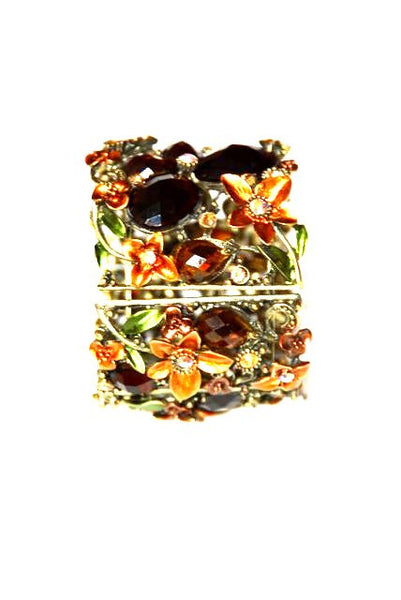 Women's Wide Stretch Bracelet with Multicolor Stones