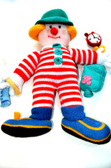 "16"" Hand Made Knitted Soft Toy Clown"