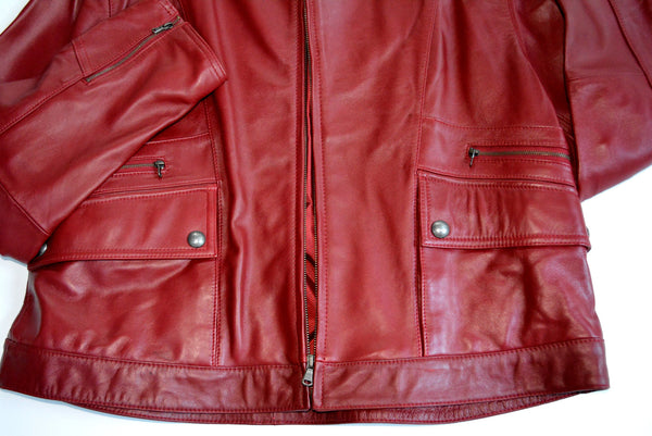 Women's Short Red Leather Jacket