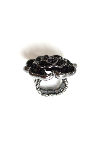 Women's Black Ice Paved Flower Ring