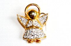 "Angel Brooch with Paved Crystals - Size is 1 1/4"" tall x 1"" wide."