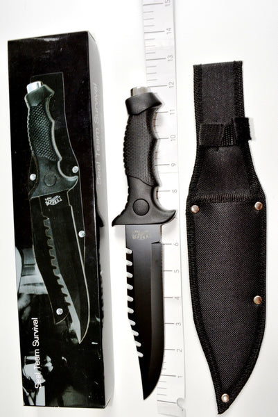 "Tactical Dagger 11.5"" with Black Blade & Pakka Wood Handle"