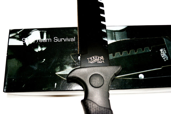 "12"" Seal Team Survival Knife By Frost USA, with Black Blade & Black Plastic Handle Matched with a Normal Nylon Sheath."