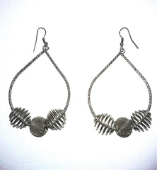 "3"" Silver Color Embossed Drop Earrings"
