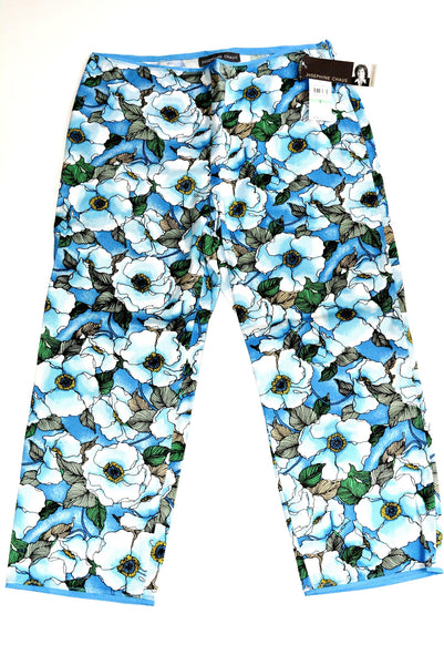 Niagara Blue Floral Capri Pants by Josephine Chaus, 97% Cotton and 3% Spandex, Size 8. Style 125376.