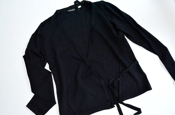 Women's Black Knit Cardigan by TAHARI, Size L. Material is 63% RAYON, 37% NYLON.