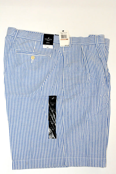 Men's Shorts by Nautica, 100% Cotton, Rigger, Classic Fit, Double Pleat, Relaxed Fit, Size 42, Blue & White Vertical Strips.